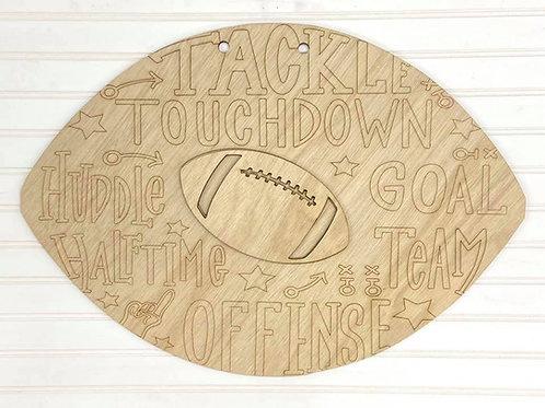 Engraved football doorhanger design