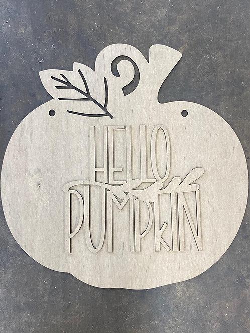 Unpainted Hello Pumpkin Doorhanger