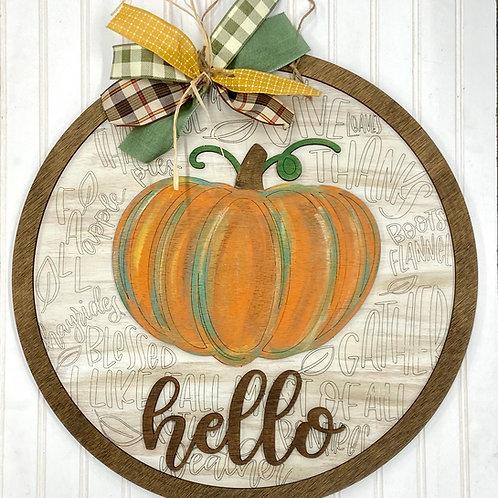 Typography pumpkin hello door hanger