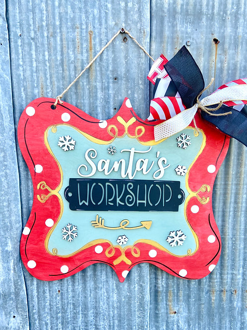 Santa's Workshop Doorhanger