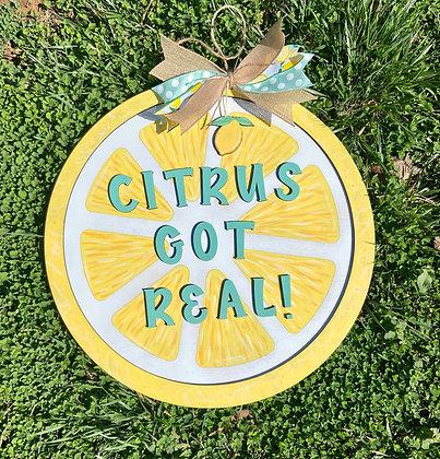 Lemon citrus door hanger