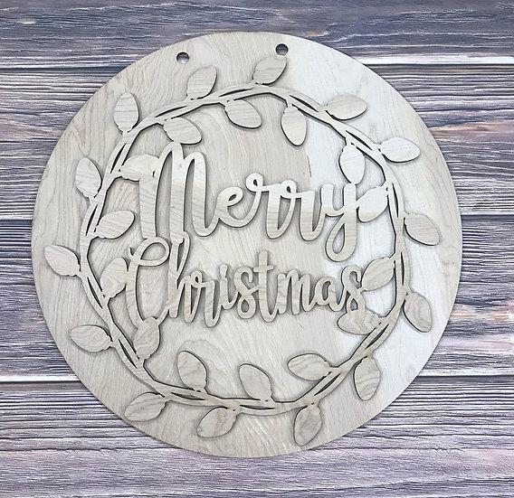 Wooden Door Hanger Merry Christmas With Vine