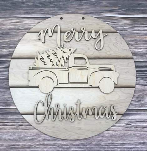 Merry Christmas Truck on Round Background Sign