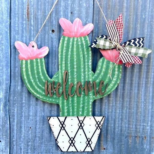 Cactus doorhanger with bow handpainted