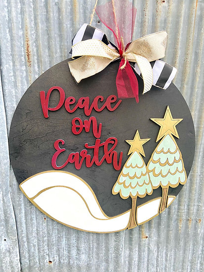 Peace on Earth Home Decor Handcrafted sign