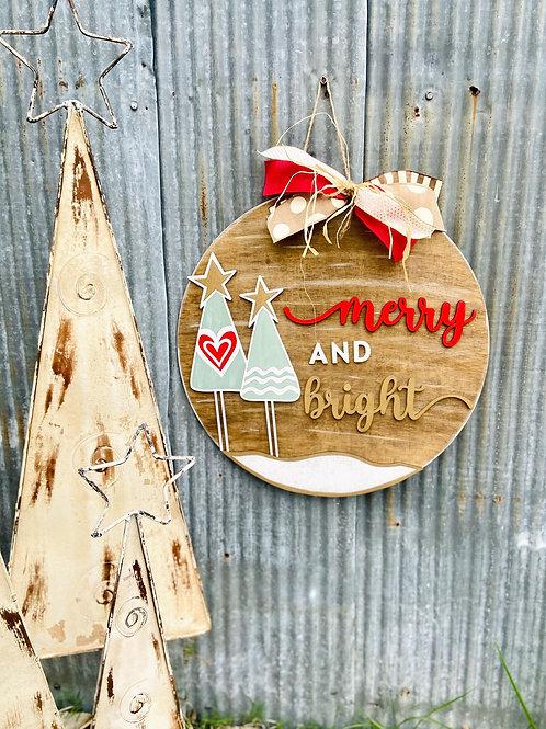 round wooden merry and bright doorhanger