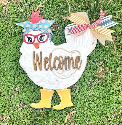 Painted diva chicken welcome