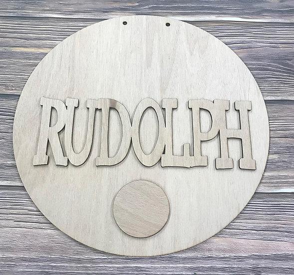 Rudolph Door Hanger Round
