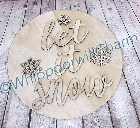 Wooden Doorhanger Let It Snow Design