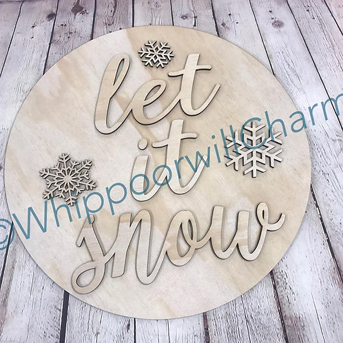 Wooden Doorhanger Let It Snow Design