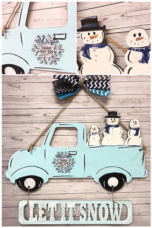 snowman in vintage truck door hanger with bow