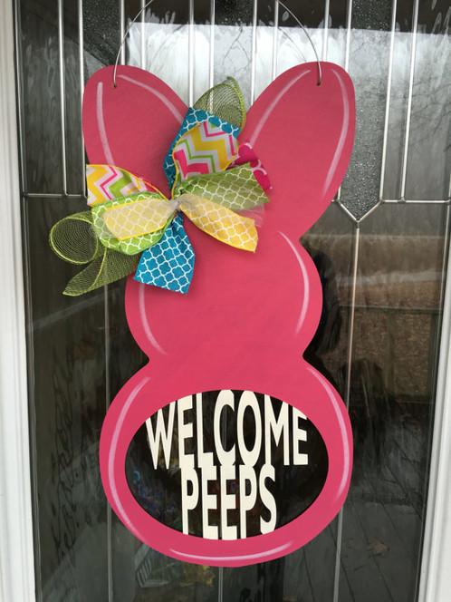 welcome peeps door hanger
