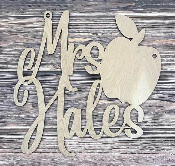 wooden teacher monogram sign with apple