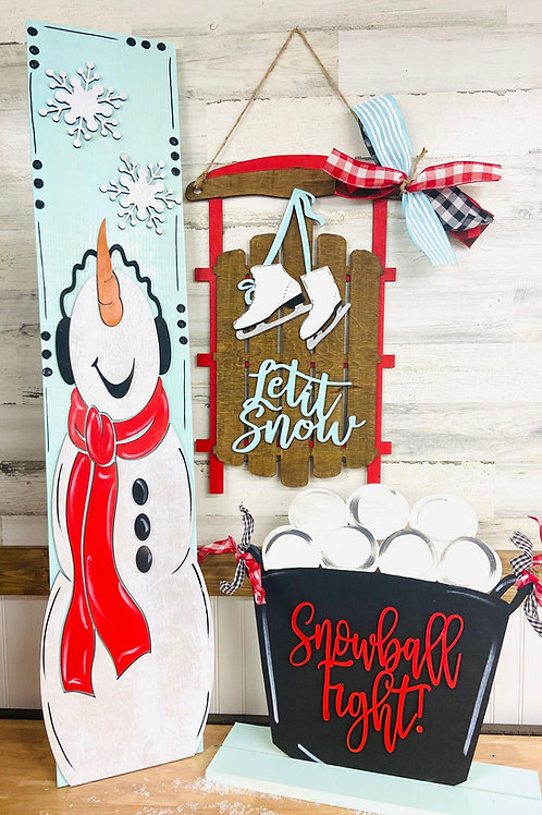 sled holiday home décor sign