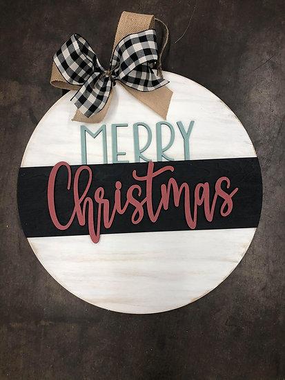 Unfinished Merry Christmas Round door hanger
