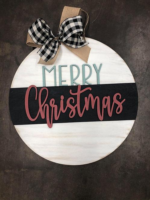 PAINTED Merry Christmas Round door hanger