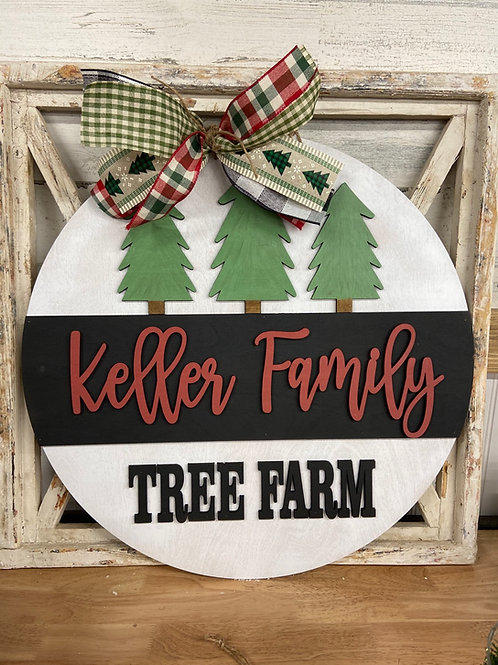 Christmas tree farm personalized sign