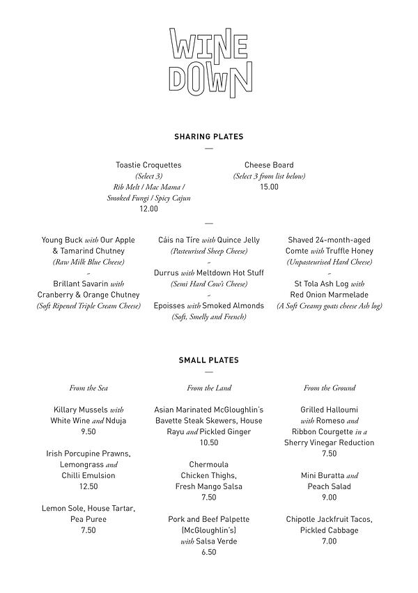26-7-21 Winedown Food Menu 1