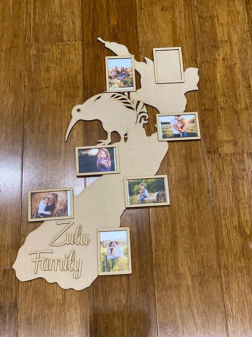 Kiwi nz Map - with photo frames