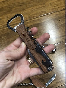 Engraved Corkscrew Bottle Opener