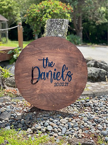 Walnut Stain Wooden Sign - 3D Writing  60cm,  45cm