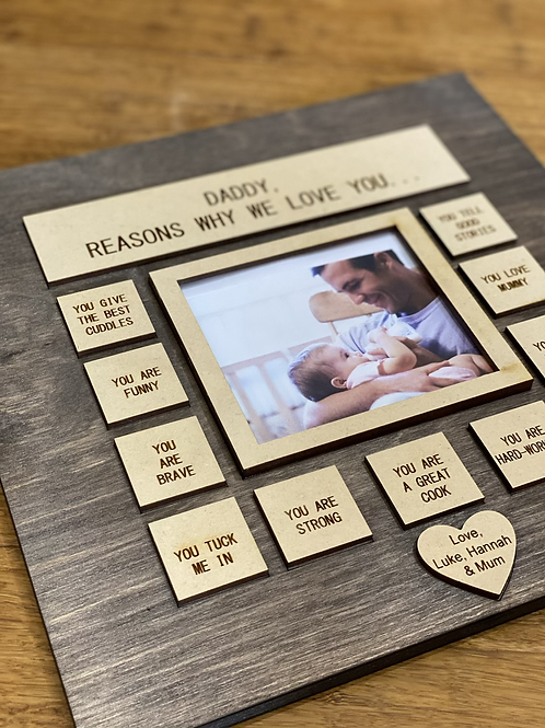 Daddy wooden Plaque with photo frame
