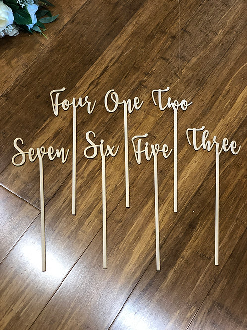 Wooden Table Numbers with stick -  28cm height