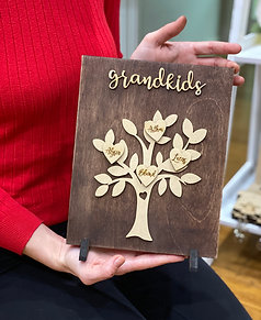 Grandkids Stained Wooden Plaques with stand