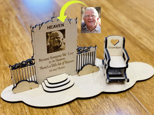 Heaven Door  plaque with Rocking chair and Engraved Photo