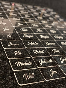 Acrylic Place names - clear engraved MIN ORDER 10
