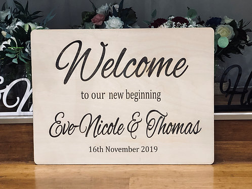 Engraved  Wooden Welcome sign- personalized