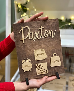 New Born Stained Wooden Plaques with stand