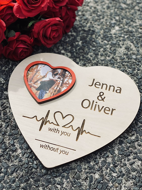 Heart plaque with photo frame and personalised names (option to add stand)