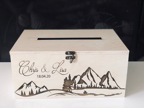 Wooden Card box - engraved