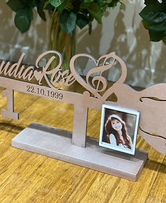 Wooden 21st Keys RAW mdf or colour  with photo frame