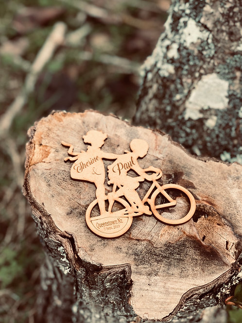 Personalized Wooden favour - Bicycle theme