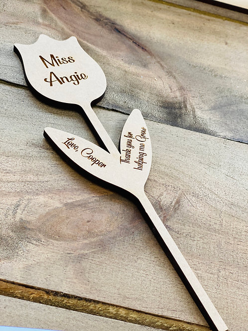 Engraved Wooden Flower plaque