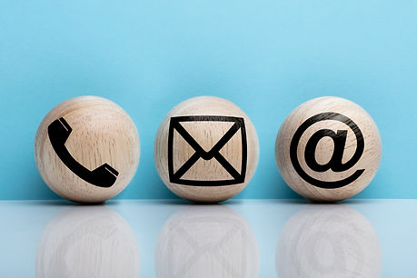 Three Wooden Ball With Contact Icon Arra