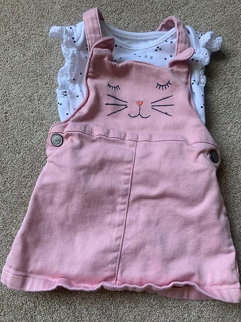 3-6m Cat Dungaree Dress