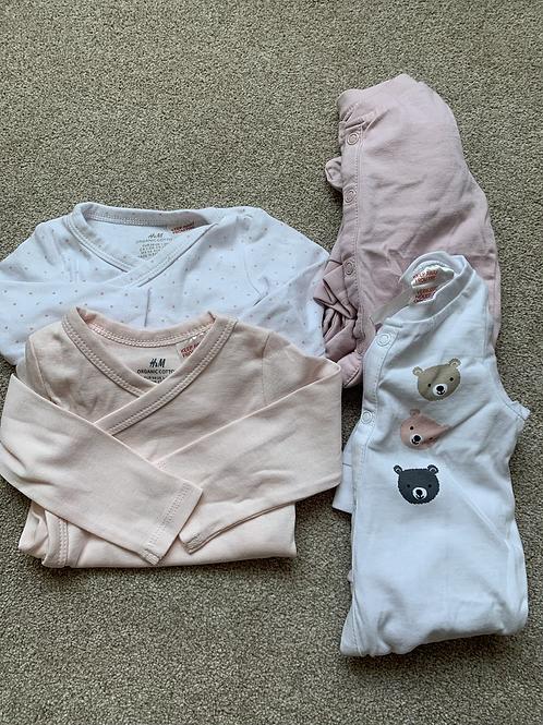 Newborn Vests x2 Sleepsuits x2