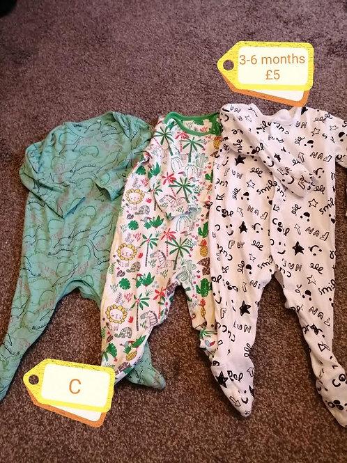 Sleepsuits x3 3-6m
