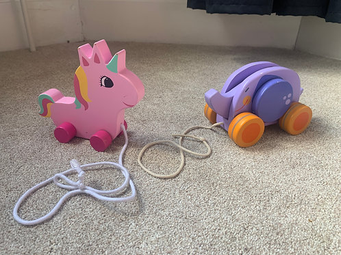 Unicorn & Elephant Pull Along Toys