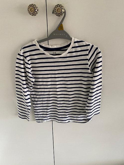 4-6y H&M Navy & White Striped Top