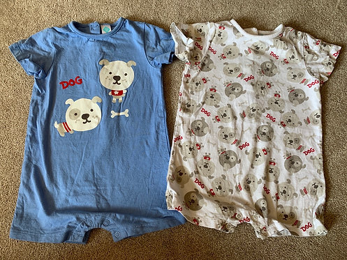 12m Dog Rompers x2