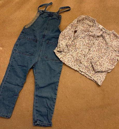 4-5y Zara Dungarees & Next Shirt
