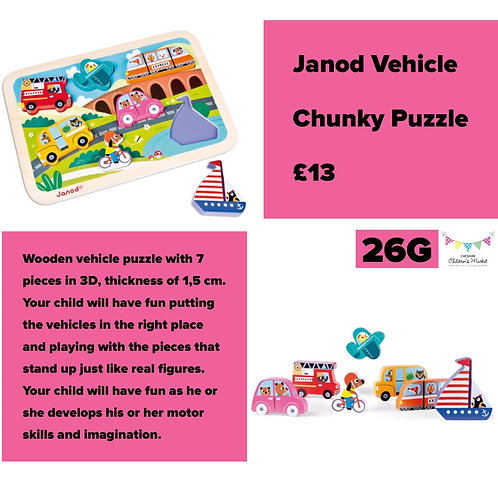 Janod Vehicle Chunky Puzzle