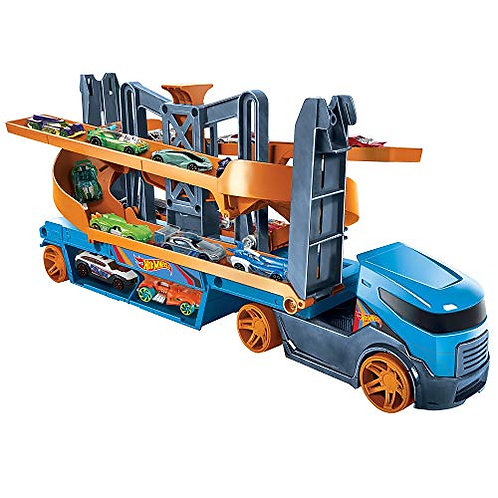 Hot Wheels Lift and Launch Hauler With 10 Cars (3+ Years)
