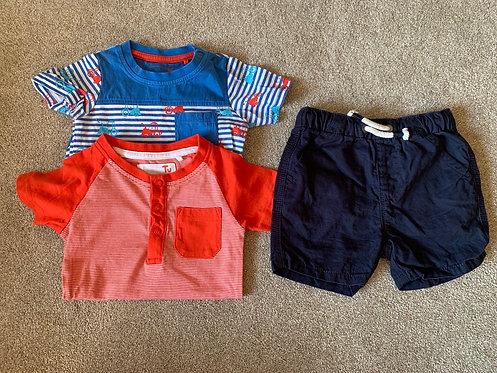 9-12m TU Vests x2 & Next Shorts