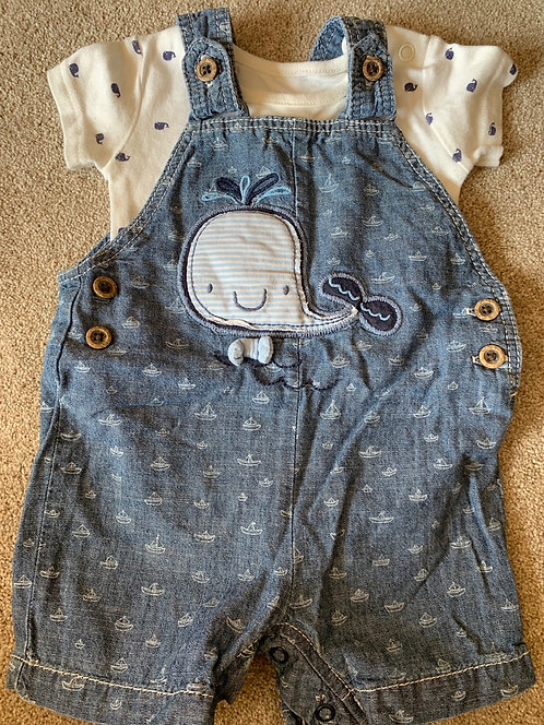 0-3m Whale Dungaree Shorts