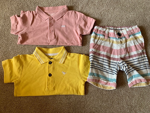 6-9m Next Polos x2 M&S Shorts